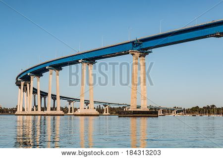 The concrete and steel girders of the San Diego-Coronado Bay bridge as it spans San Diego bay.