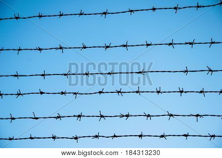 the barbed wire on blue sky background