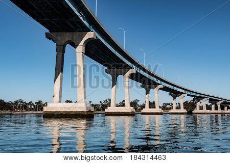 A line of concrete/steel girders supporting the San Diego-Coronado Bay Bridge.