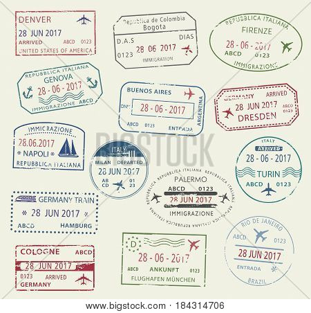 Visa passport stamp symbol set. International travel visa stamp of Italy, Germany, USA, Brazil and Colombia. Tourism, visa application, arrival document, vacation journey planning and traveling design