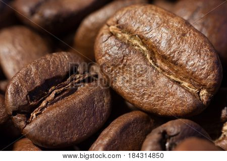 Brown roasted coffee beans close-up macro view natural food background selective focue shallow depth of field.