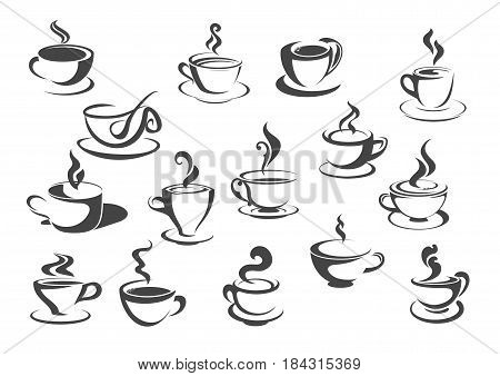 Cup of hot drink icon set. Coffee cup and tea mug isolated silhouette with saucer, spoon and hot steam curl for coffee shop label, cafe and restaurant beverage menu design