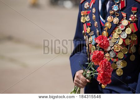 Moscow Russia - 09 May 2016: Closeup of veteran's suit with medals and orders. Victory day in Russia.