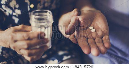 Senior Take Pills Medicine Healthcare