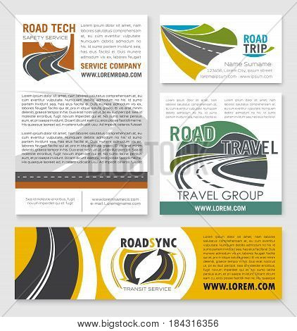Road trip and car travel banner template set. Business card and advertising poster with highway road badges and text layouts for transit travel agency, road tech services and transportation design