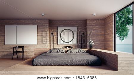 The Loft and Modern bedroom - Mock up interior/ 3D rendering interior