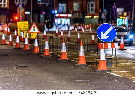 UK Road Services Roadworks Cones and Signs.