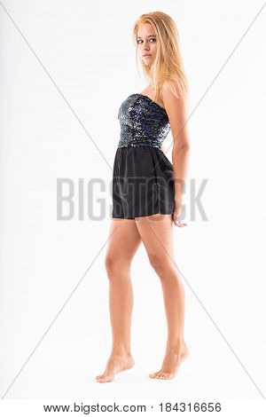 Teenager Blonde Posing Barefoot And Tip-toed