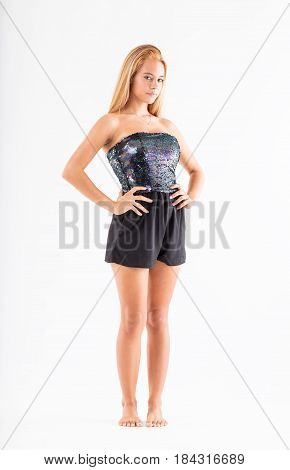 Teenager Model With Arms Akimbo