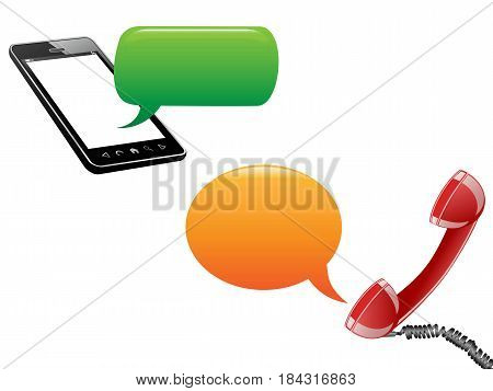 phone communicated with speech bubbles on white background