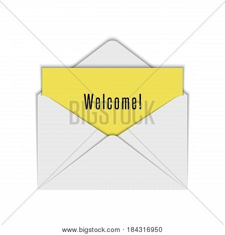 Blank realistic white envelope mockup of open with yellow sheet paper and text Welcome. Letter or invitation card design element template.