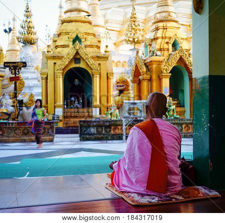 People At Shwedagon Paya In Yangon, Myanmar