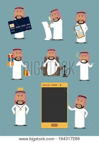 Rich arab businessman cartoon character set. Saudi arabian man standing with mobile phone, credit bank card, shopping bag and hourglass, resting with cup of coffee and hookah. Wealth themes design