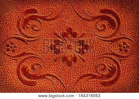 floral element leather texture background