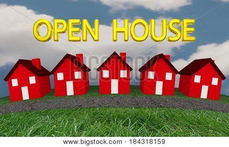 Open House Homes for Sale Real Estate 3d Illustration