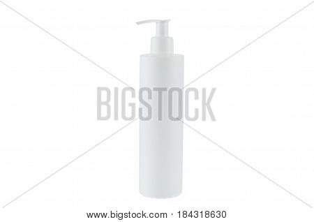white small bottle with the piston on a white background a side view