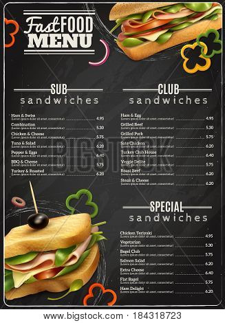 Fast food cafe healthy options wholegrain wheat multigrain sandwiches blackboard menu realistic advertisement poster print vector illustration