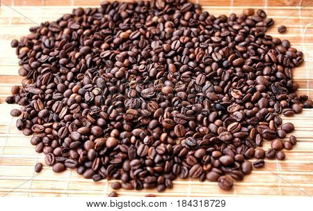 Fragrant Coffee Beans Close-up On Solar Pleasant Uniform Light