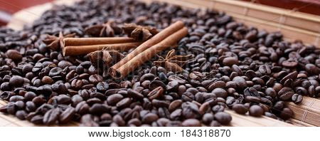 Great Aromatic Coffee Beans, Anise Spice For Sweets, Cakes, Cinnamon Sticks, Anise And Cloves. Diffe