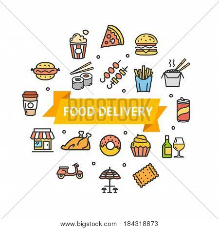 Fastfood and Street Food Round Design Template Thin Line Icon Delivery Concept for Restaurant Menu. Vector illustration
