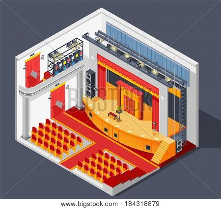 Theatre interior isometric composition with lights stage and scenery vector illustration