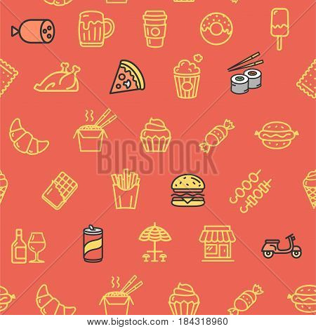 Fastfood and Street Food Pattern Background on Red Hot Dog, Pizza, Sushi and Beverage. Vector illustration