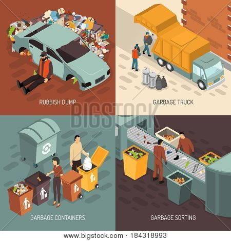 Four square isometric garbage recycling design icon set with truck garbage rubbish dump containers and sorting descriptions vector illustration