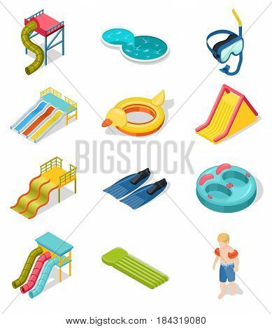 Colored and isolated aqua park isometric icon set with elements of place of entertainment vector illustration