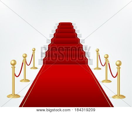 Red Event Carpet, Stair and Gold Rope Barrier Concept of Success and Triumph. Vector illustration