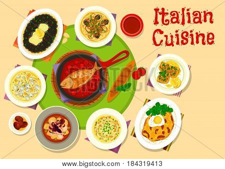 Italian cuisine lunch menu icon of pasta with clam and rabbit stew, chicken spaghetti with cheese, fish in tomato sauce, seafood risotto, octopus vegetable stew, turkey milanese, bean spread toast