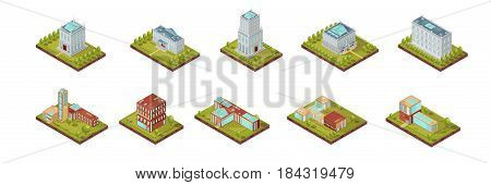 Isometric set of university buildings with windows on roofs and surrounding areas with trees isolated vector illustration