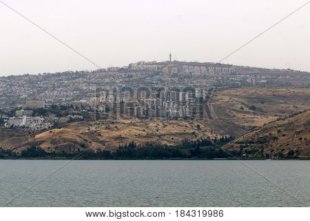 A cloudy morning on the shore of Lake Kinneret (Tiberias Lake, Sea of Galilee)