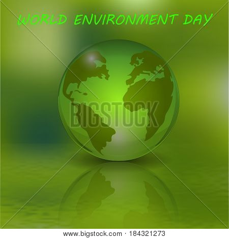 An inscription with an afternoon environment. The globe and its reflection. Green ecological background. Vector illustration