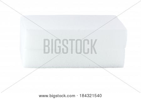 two white sponges for cleaning on a white background
