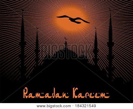 Ramadan Kareem. The architectural complex is painted in the style of a blue mosque. Rays of sunset. Vector illustration