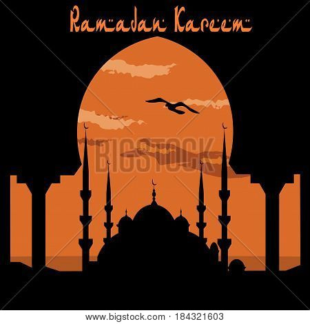 Ramadan Kareem. View from the arch on the blue mosque. Bird, the clouds. Vector illustration