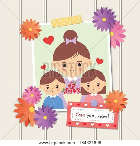 Happy Mother's Day. Photo of cartoon mother with daughter and son. Photo frame with flower decor and memo written