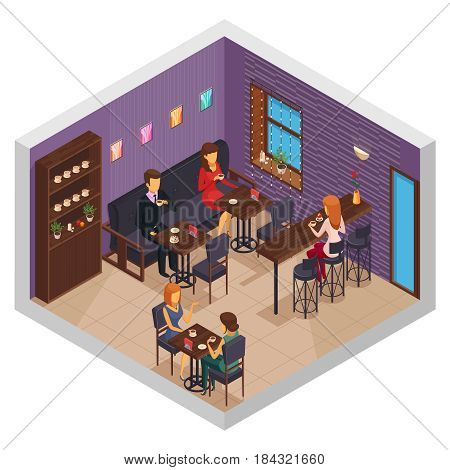 Cafe interior restaurant pizzeria bistro canteen isometric indoor composition with cupboard and visitors sitting at tables vector illustration