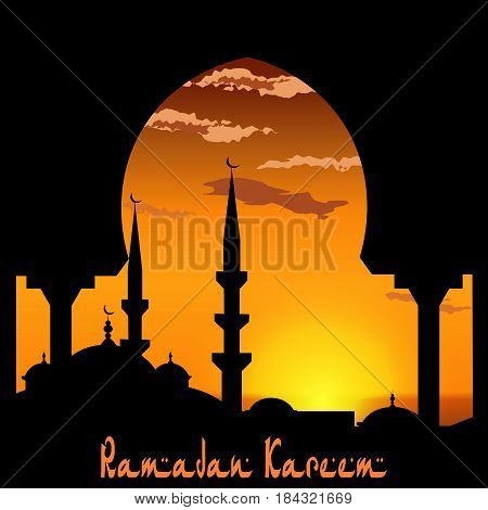 Ramadan Kareem. View from the arch on the blue mosque. Sunset or sunrise. Bird, the clouds. Vector illustration