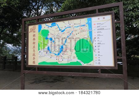 YANGSHOU CHINA - NOVEMBER 18, 2016: Yangshou town and West street tourist map.