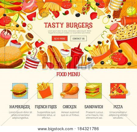 Fast food restaurant menu template. Burger, hamburger, pizza, hot dog and french fries, sandwich and donut, sweet soda, chicken and taco, ice cream, popcorn, burrito. Takeaway menu web banner design