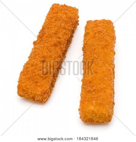 Crispy Fish fingers isolated on white background