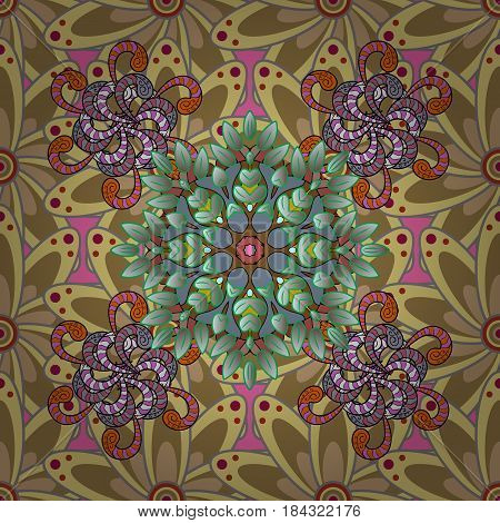 Seamless pattern can be used for sketch web page background surface textures. Seamless pattern with flowers. Vector ornate zentangle texture endless pattern with abstract flowers.