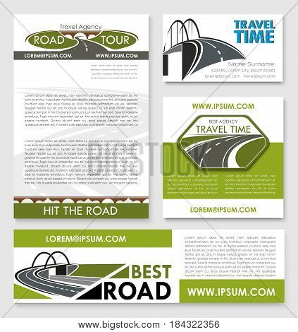 Road trip poster and car travel banner template set. Travel agency business card and vacation journey brochure with road bridge, winding highway, speedy freeway. Transportation services theme design