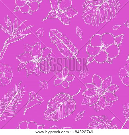 Doodle floral seamless pattern with white exotic flowers and leaves on purple background vector illustration