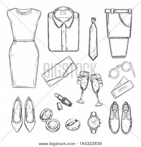 Evening party clothes set with male and female wardrobe elements accessories items in sketch style isolated vector illustration