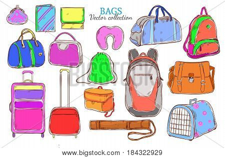 Doodle colored travel baggage collection with suitcases luggage backpacks purse animal bag pillow tube gadget cases isolated vector illustration