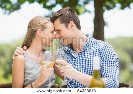Happy couple toasting glasses of wine in a restaurant