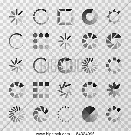 Loading indicators and internet buffering vector icons set. Elements interface for buffering progress, illustration of status download progress