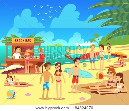 Summer sea beach with sunbathing relaxing young women and men vector illustration. Summer beach with people, ocean vacation and travel on beach